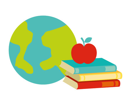 world books apple back to school vector illustration