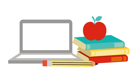 laptop books apple pencil back to school vector illustration 向量圖像