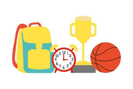backpack clock trophy ball back to school vector illustration Иллюстрация