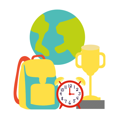 world backpack clock trophy back to school vector illustration