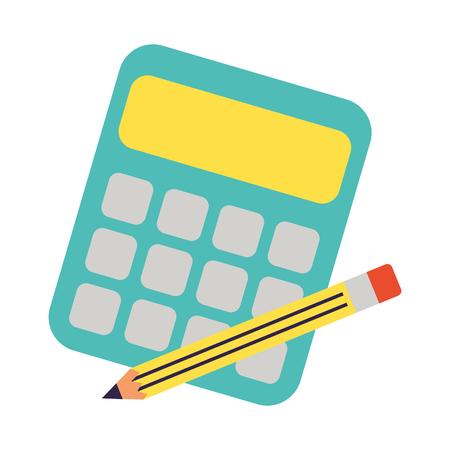 calculator and pencil back to school vector illustration Vektoros illusztráció