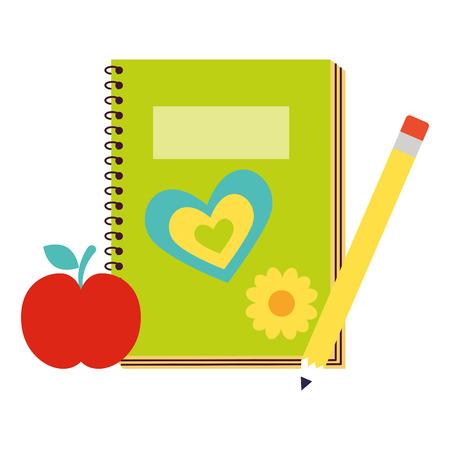 book pencil and apple back to school vector illustration Ilustração