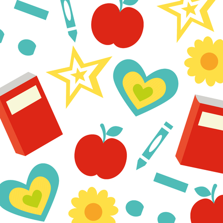 apple book crayon flower back to school vector illustration