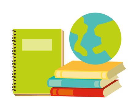 world notebook and books back to school vector illustration Archivio Fotografico - 126464399