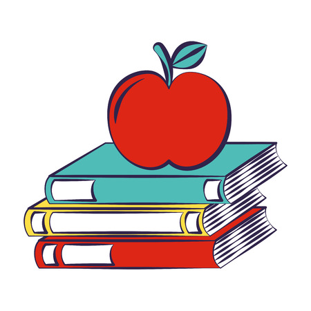 apple and stack books back to school vector illustration
