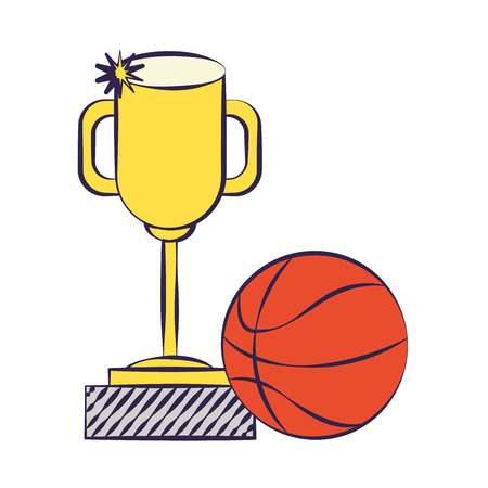 trophy and basketball ball back to school vector illustration