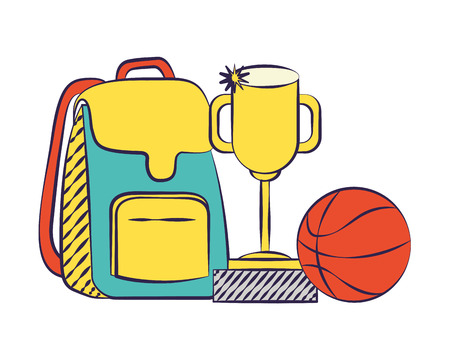 backpack trophy and ball back to school  vector illustration