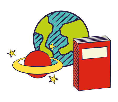 notebook world planet back to school  vector illustration