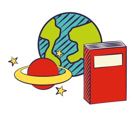 notebook world planet back to school vector illustration