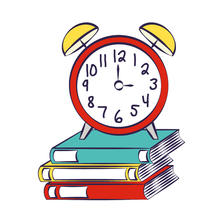 books and clock alarm back to school vector illustration Illusztráció