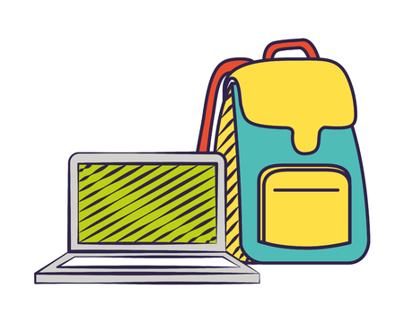 laptop computer backpack back to school vector illustration