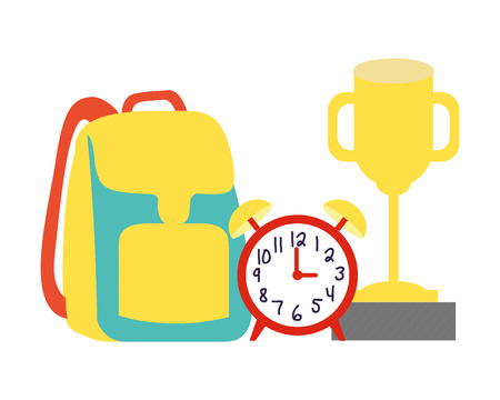 backpack clock trophy back to school vector illustration