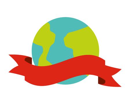 world ribbon on white background vector illustration