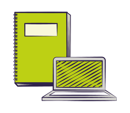 laptop computer and book back to school vector illustration Ilustrace