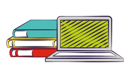 laptop books back to school vector illustration Illustration
