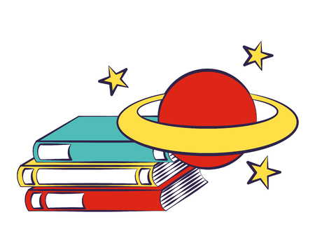 stack books and planet back to school vector illustration