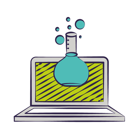 laptop and test tube back to school vector illustration