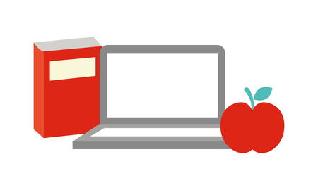 laptop book and apple back to school  vector illustration Çizim