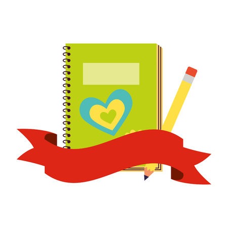 notebook and pencil back to school  vector illustration