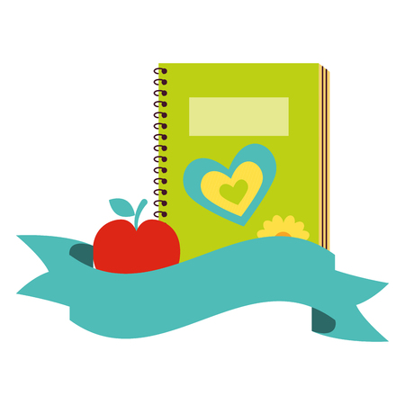 notebook and apple back to school  vector illustration