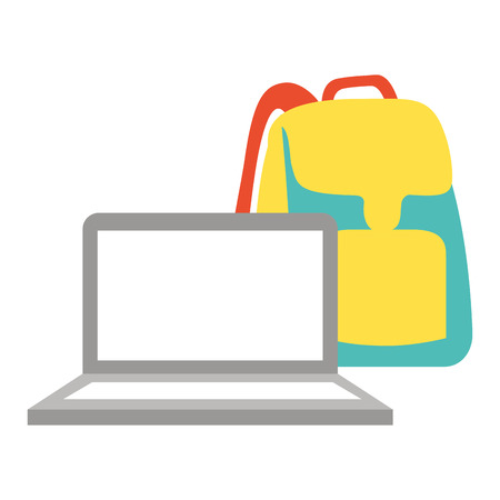 laptop computer backpack back to school vector illustration