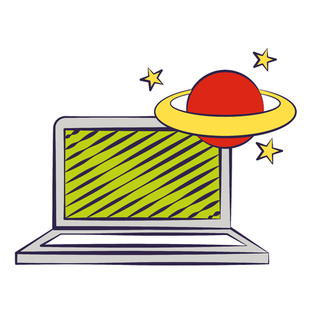 laptop and planet back to school vector illustration Stock Illustratie