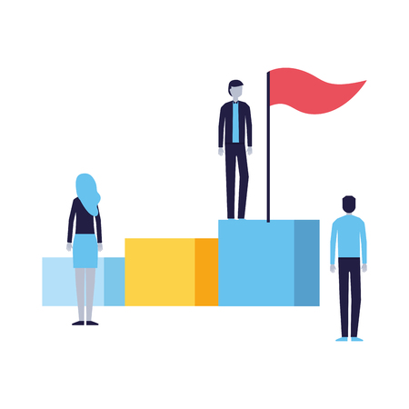 business people on stand with flag vector illustration Foto de archivo - 114649741