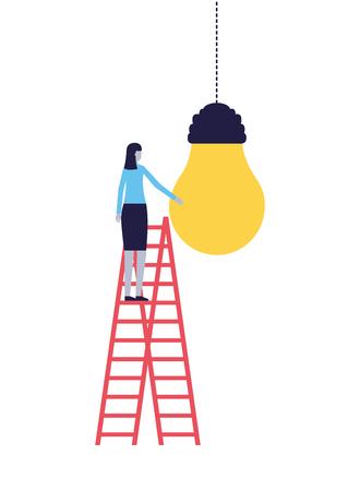 business woman climbing stairs bulb idea vector illustration