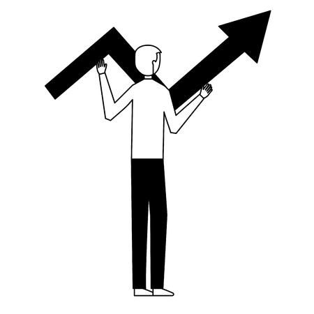 businessman holding arrow business white background vector illustration Banque d'images - 126464470