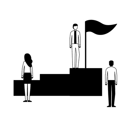 business people on stand with flag vector illustration Foto de archivo - 126464474