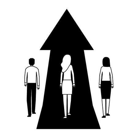 business women and man with growth arrow vector illustration