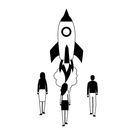 businesspeople rocket launching startup white background vector illustration