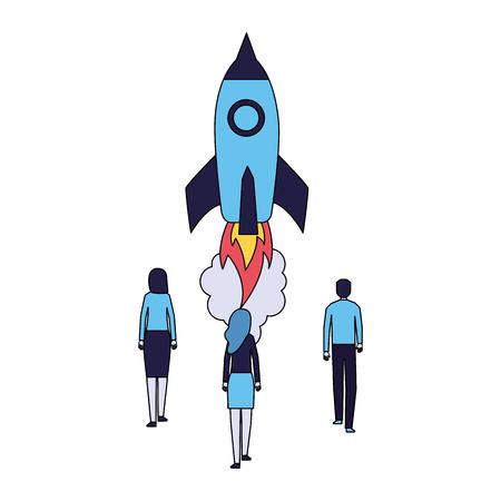Ilustración de vector de fondo blanco de lanzamiento de cohete de empresarios