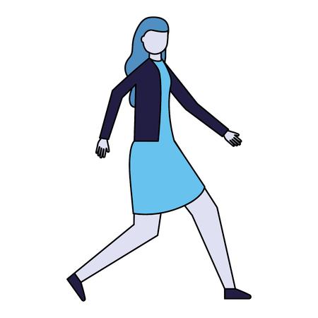 Frauencharakter auf weißer Hintergrundvektorillustration