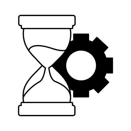 business hourglass and gear white background vector illustration