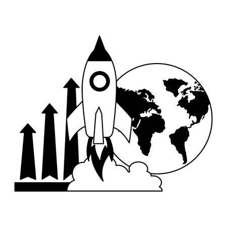 business world rocket and arrow growth vector illustration