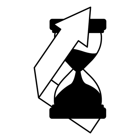 business hourglass arrow finance white background vector illustration