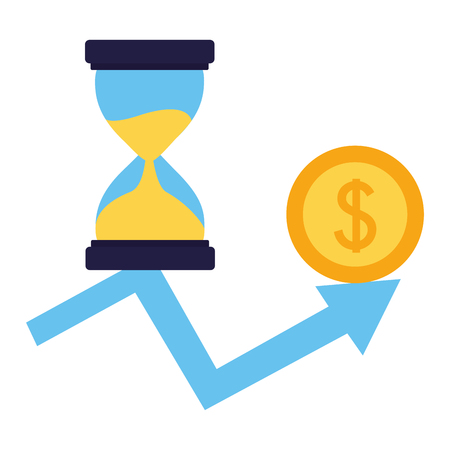 business hourglass arrow growth money coin vector illustration