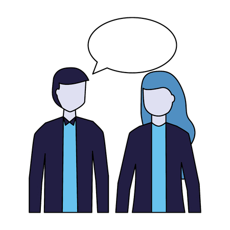 man and woman talking speech bubble vector illustration 向量圖像