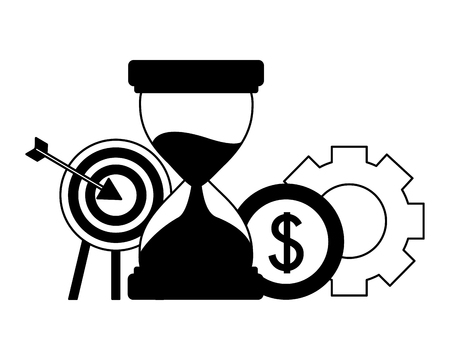 business target hourglass coin gear vector illustration