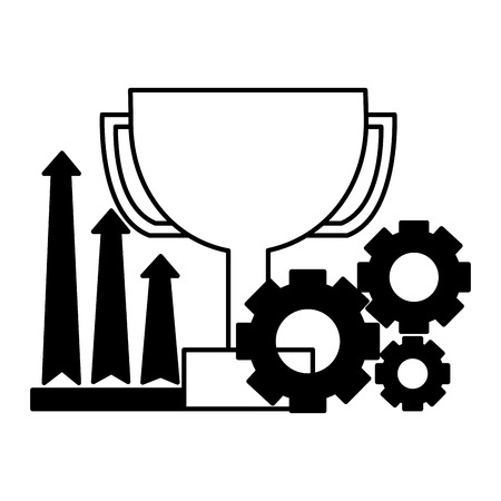 business trophy growth arrows and gears vector illustration Stock Vector - 126464593