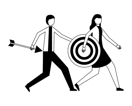 uomo d'affari e donna che tengono l'obiettivo e la freccia illustrazione vettoriale