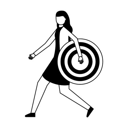 business woman holding target strategy vector illustration