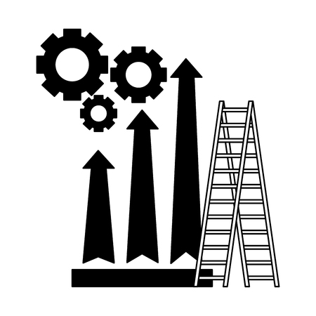 business stairs gears and arrow financial vector illustration