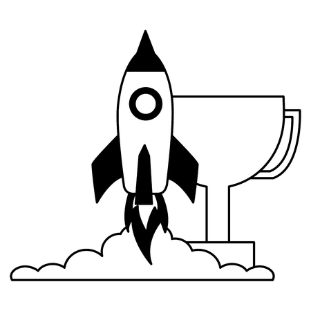 business launching rocket and trophy vector illustration