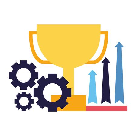 business trophy growth arrows and gears vector illustration Foto de archivo - 126464602