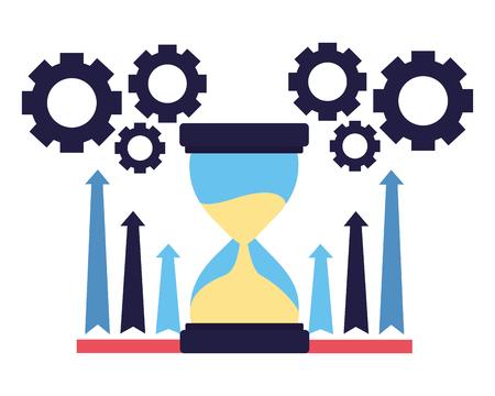 illustrazione vettoriale di frecce e ingranaggi del grafico a clessidra di affari