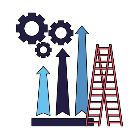 business stairs gears and arrow financial vector illustration Фото со стока - 126464636