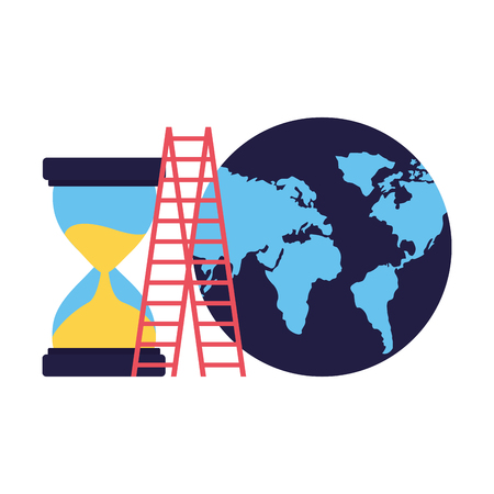 business world stairs and hourglass vector illustration