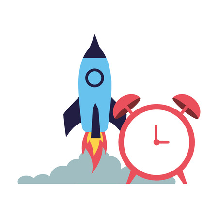 business launching rocket and alarm clock vector illustration